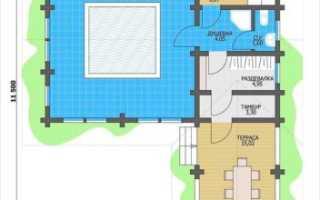 Планировка бани с бассейном и комнатой отдыха