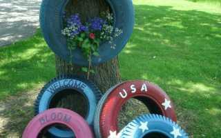 Изделия из шин для сада