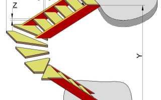 Расчет забежной лестницы на 180