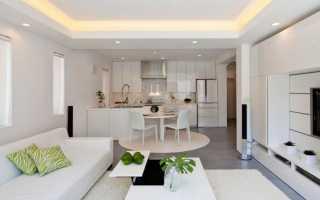 Натяжные потолки в кухню гостиную фото