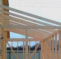 Верхняя обвязка и стропила односкатной крыши
