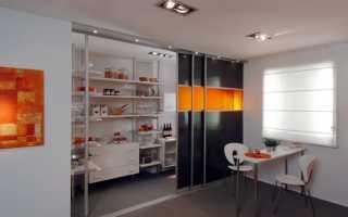 Раздвижные двери между кухней и залом
