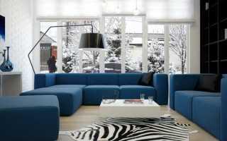Бежевые стены синий диван